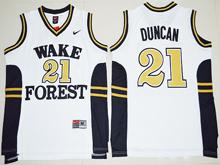 Mens Ncaa Nba Wake Forest Demon Deacons #21 Tim Duncan White Jersey