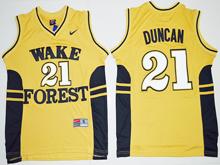 Mens Ncaa Nba Wake Forest Demon Deacons #21 Tim Duncan Gold Jersey