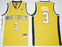 Mens Ncaa Nba Wake Forest Demon Deacons #3 Chris Paul Gold Jersey