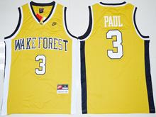 Mens Ncaa Nba Wake Forest Demon Deacons #3 Chris Paul Gold Jersey
