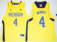 Mens Ncaa Nba Michigan Wolverines #4 Chirs Webber Yellow Jersey
