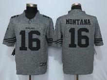 Mens Nfl San Francisco 49ers #16 Joe Montana Gray Stitched Gridiron Limited Jersey