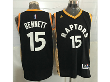 Mens Nba Toronto Raptors #15 Anthony Bennett Black&gold Jersey