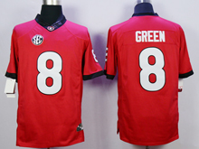 Mens Ncaa Nfl Georgia Bulldogs #8 A.j Green Red Limited Jersey