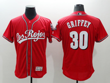 mens majestic cincinnati reds #30 ken griffey red Flex Base jersey