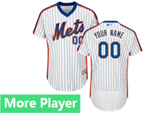 Mens Majestic New York Mets White Stripe Pullover Flex Base Jersey