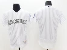 mens majestic colorado rockies blank white stripe Flex Base jersey