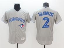 mens majestic toronto blue jays #2  troy tulowitzki gray Flex Base jersey
