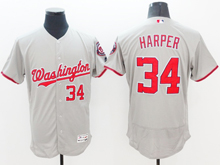 mens majestic washington nationals #34 bryce harper gray Flex Base jersey