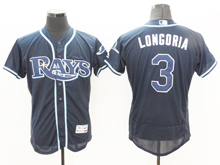 mens majestic tampa bay rays #3 evan longoria navy Flex Base jersey