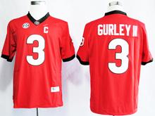 Mens Ncaa Nfl Georgia Bulldogs #3 Todd Gurley Ii Red Jersey