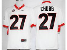 Mens Ncaa Nfl Georgia Bulldogs #27 Nick Chubb White Jersey