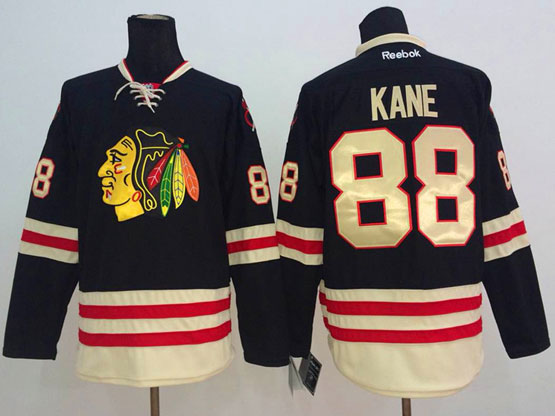 Mens reebok nhl chicago blackhawks #88 kane black (2015 winter classic) Jersey