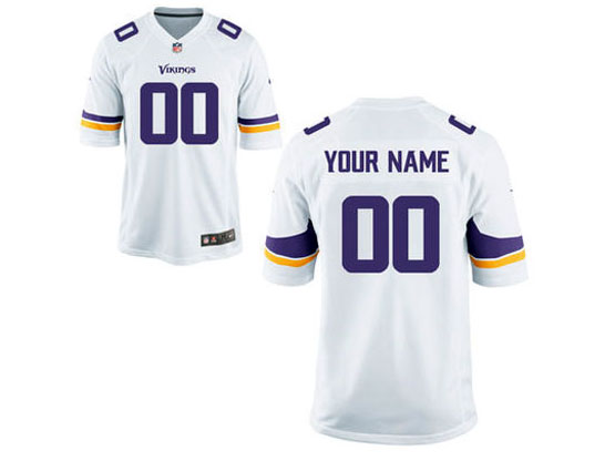 Mens Women Youth Kids Nfl Minnesota Vikings (custom Made) White Game Jersey
