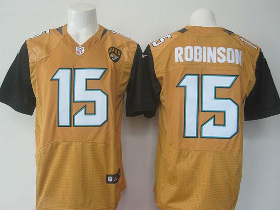 Mens   Jacksonville Jaguars #15 Allen Robinson Yellow Elite Jersey