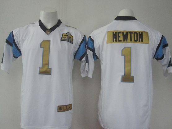 Mens   Nfl Carolina Panthers #1 Cam Newton White Super Bowl 50 Bound Game Jersey