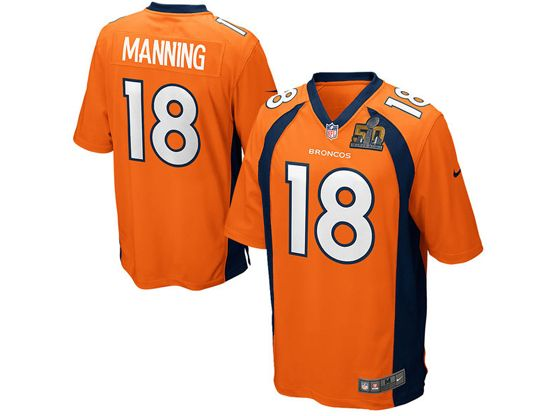 Mens   Nfl Denver Broncos #18 Peyton Manning Orange Super Bowl 50 Bound Game Jersey