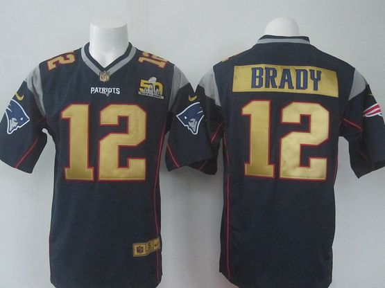 Mens Nike Nfl New England Patriots #12 Tom Brady Blue Super Bowl 50 Bound Game Jersey