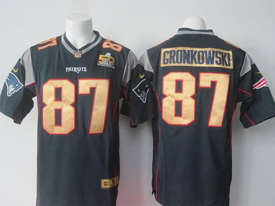 Mens Nike Nfl New England Patriots #87 Rob Gronkowski Blue Super Bowl 50 Bound Game Jersey