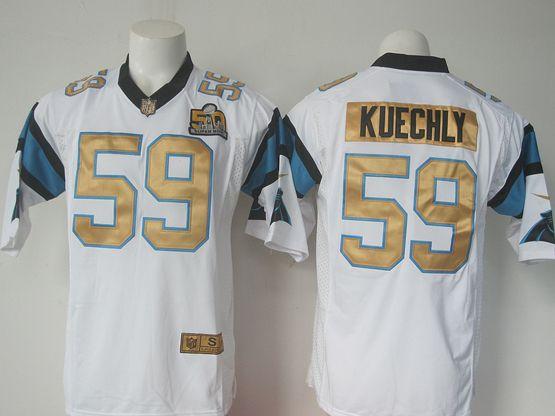 Mens Nike Nfl Carolina Panthers #59 Luke Kuechly White Super Bowl 50 Bound Game Jersey