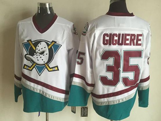 Mens Nhl Anaheim Mighty Ducks #35 Giguere White Throwbacks Jersey