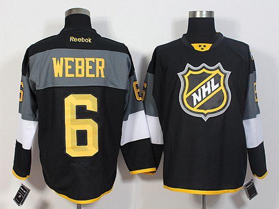 Mens Reebok Nhl Nashville Predators #6 Weber Black 2016 All Star Jersey
