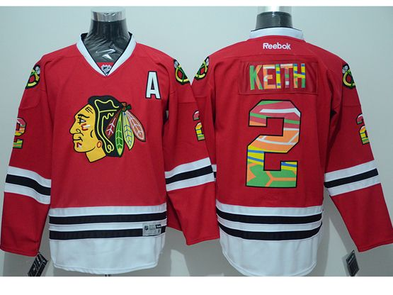 Mens reebok nhl chicago blackhawks #2 keith red a patch (print fabric) Jersey
