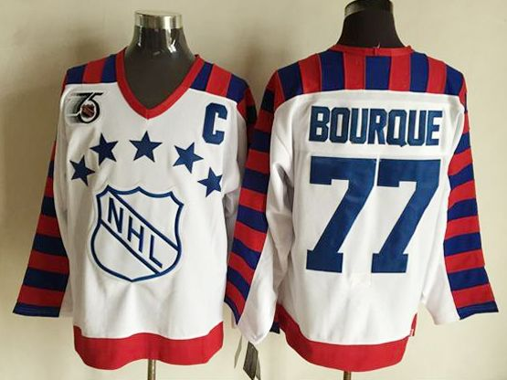 Mens nhl 1992 all star campbell #77 bourque white 75th throwbacks Jersey