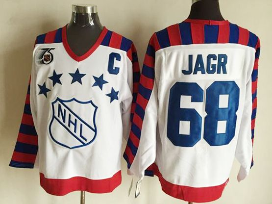 Mens nhl 1992 all star campbell #68 jagr white 75th throwbacks Jersey