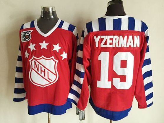 Mens nhl 1992 all star campbell #19 yzerman red 75th throwbacks Jersey
