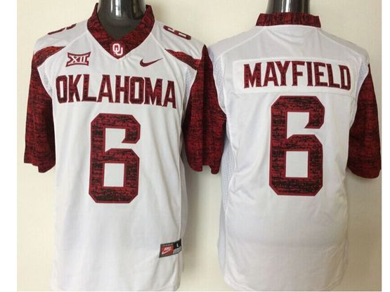 Mens Ncaa Nfl Oklahoma Sooners #6 Mayfield White Jersey