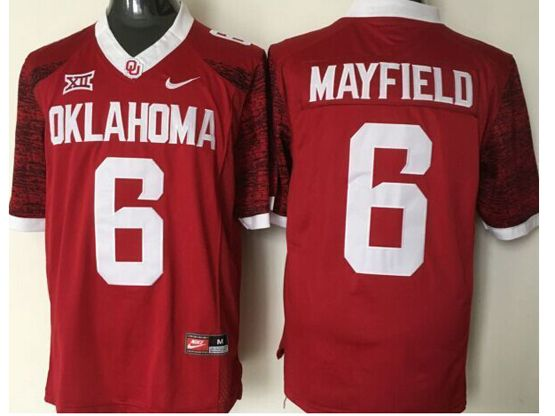Mens Ncaa Nfl Oklahoma Sooners #6 Mayfield Red Jersey