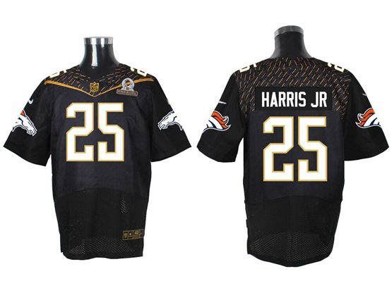 Mens Nfl Denver Broncos #25 Harris Jr Black (2016 Pro Bowl) Elite Jersey
