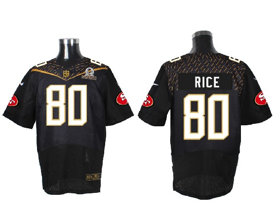 Mens Nfl San Francisco 49ers #80 Rice Black (2016 Pro Bowl) Elite Jersey