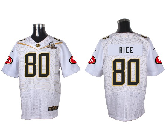 Mens Nfl San Francisco 49ers #80 Rice White (2016 Pro Bowl) Elite Jersey