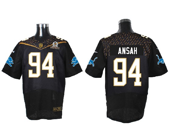 Mens Nfl Detroit Lions #94 Ansah Black (2016 Pro Bowl) Elite Jersey