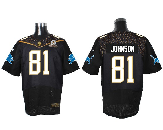 Mens Nfl Detroit Lions #81 Johnson Black (2016 Pro Bowl) Elite Jersey