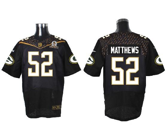 Mens Nfl Green Bay Packers #52 Matthews Black (2016 Pro Bowl) Elite Jersey