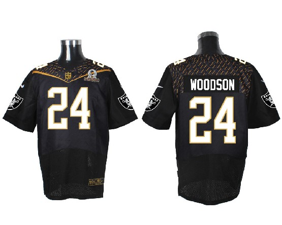 mens nfl Oakland Raiders #24 Charles Woodson black (2016 pro bowl) elite jersey
