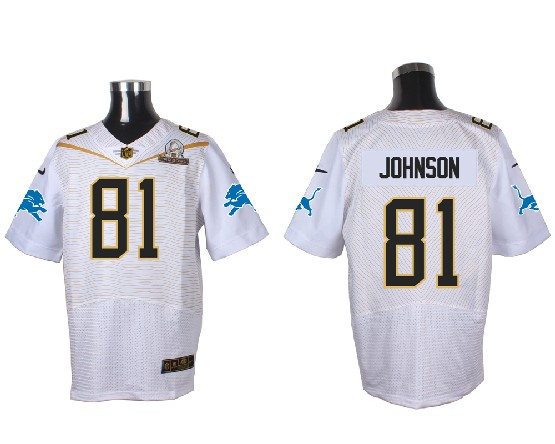 Mens Nfl Detroit Lions #81 Johnson White (2016 Pro Bowl) Elite Jersey