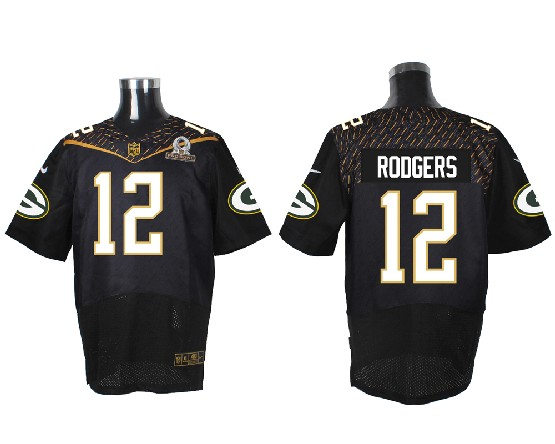 mens nfl Green Bay Packers #12 Aaron Rodgers black (2016 pro bowl) elite jersey