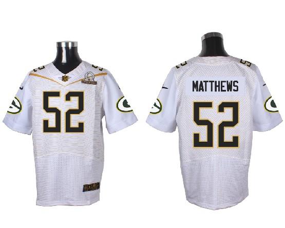 Mens Nfl Green Bay Packers #52 Matthews White (2016 Pro Bowl) Elite Jersey