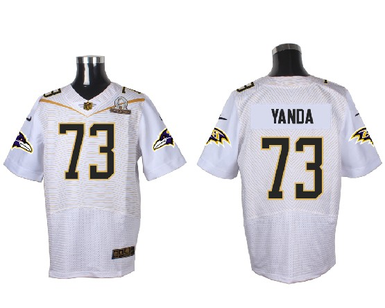 Mens Nfl Baltimore Ravens #73 Yanda White (2016 Pro Bowl) Elite Jersey