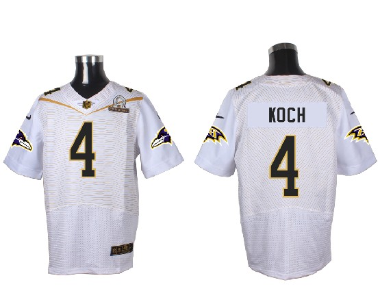 Mens Nfl Baltimore Ravens #4 Koch White (2016 Pro Bowl) Elite Jersey