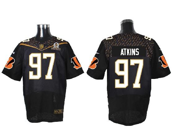 Mens Nfl Cincinnati Bengals #97 Atkins Black (2016 Pro Bowl) Elite Jersey