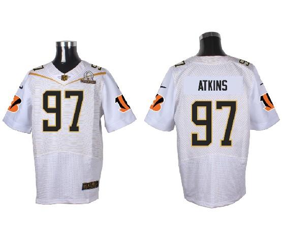 Mens Nfl Cincinnati Bengals #97 Atkins White (2016 Pro Bowl) Elite Jersey