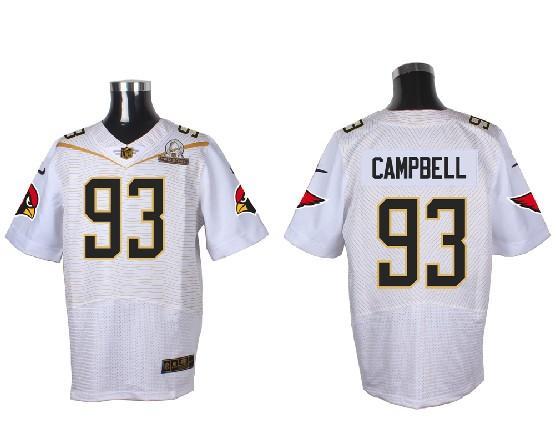 Mens Nfl Arizona Cardinals #93 Calais Campbell White (2016 Pro Bowl) Elite Jersey