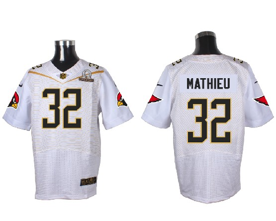 Mens Nfl Arizona Cardinals #32 Tyrann Mathieu White (2016 Pro Bowl) Elite Jersey