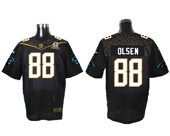 Mens Nfl Carolina Panthers #88 Olsen Black (2016 Pro Bowl) Elite Jersey
