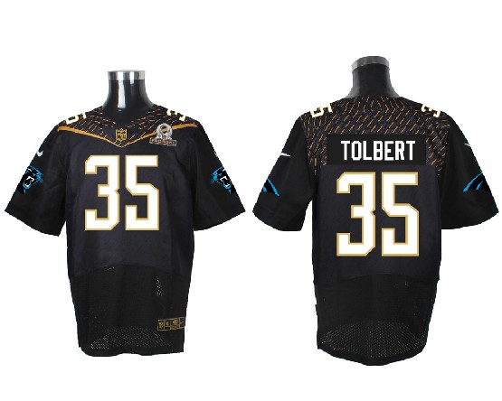 Mens Nfl Carolina Panthers #35 Tolbert Black (2016 Pro Bowl) Elite Jersey